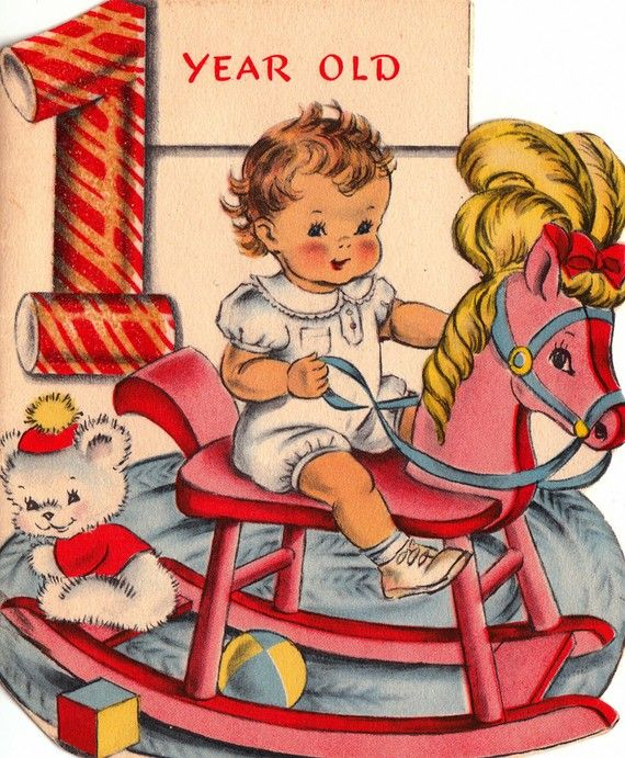 Vintage 1940s 1 Year Old Baby & Rocking Horse Greetings Card.
