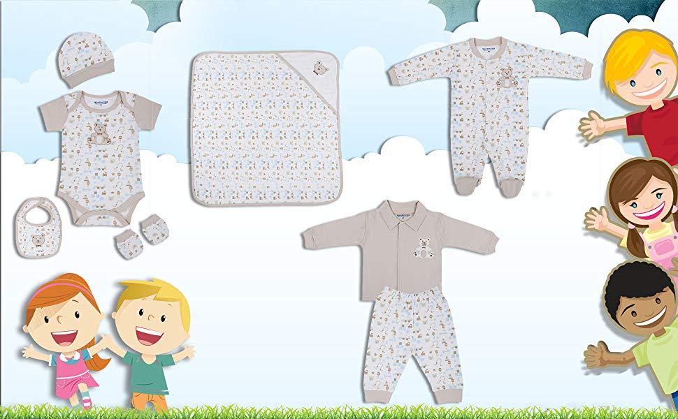 Wonderchild Cotton Printed Blanket Romper Cap Bib Mittens.