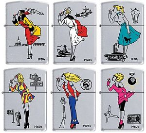 Details about Zippo Windy Girl Satin Chrome 6 Lighter Set 30s 40s 50s 60s  70s 80s RARE.