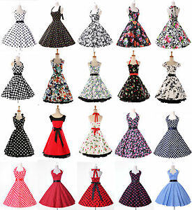 Details about Women 50s 60s Swing Vintage Retro Floral Housewife Pinup Cute  Party Dress Gown.