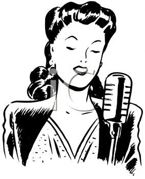 Royalty Free Clipart Image of a Female Singer in 2019.