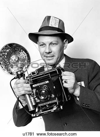 Stock Photography of 1930S 1940S 1950S Press Photographer Man.