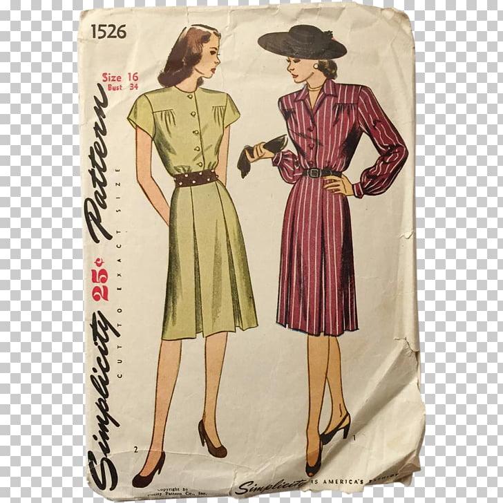 Clothing 1940s Fashion Dress Costume design, dress PNG.