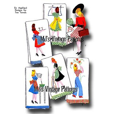 Vintage 1940s Fashionable Housewife Embroidery Applique Pattern.