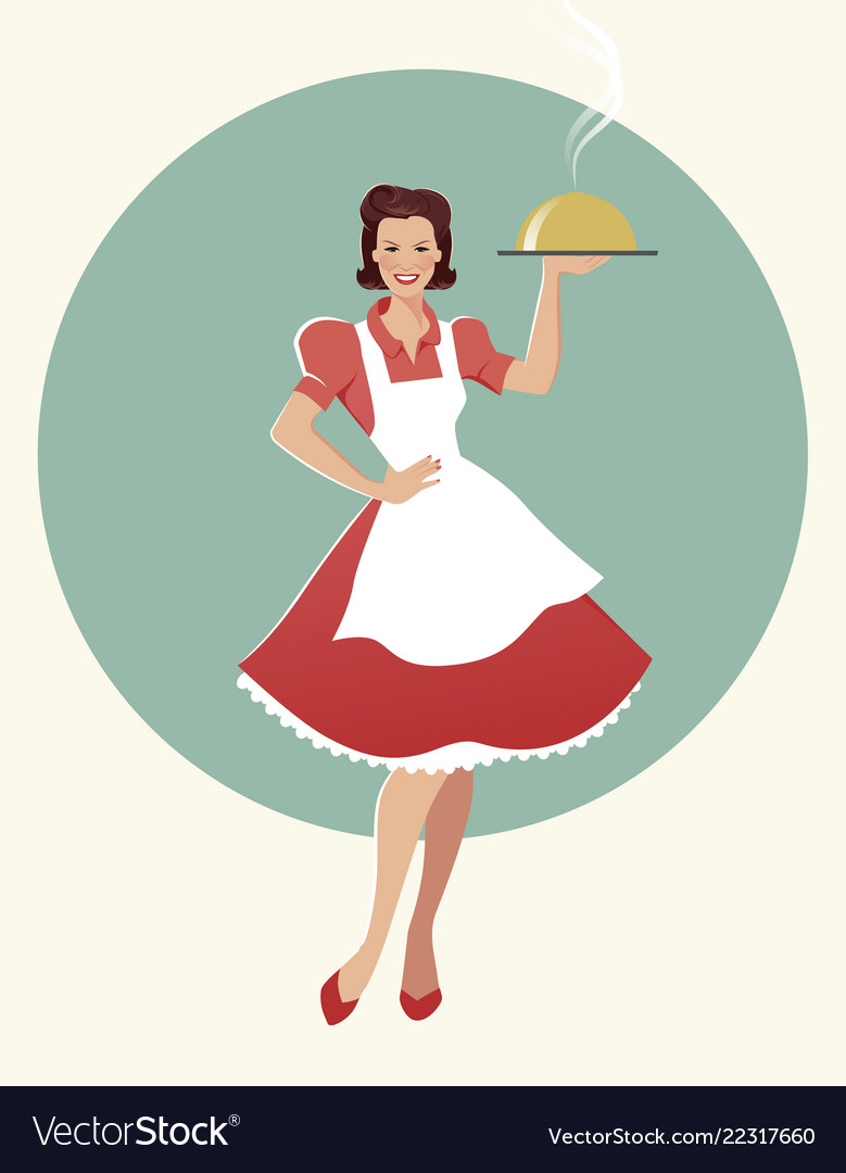 Housewife carrying a tray with dinner retro style.