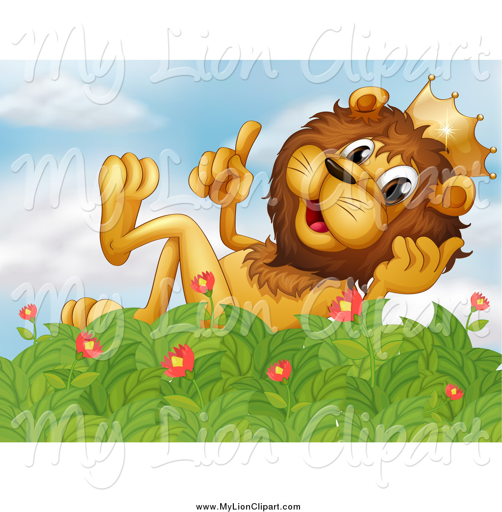 Clipart of a King Lion Talking and Relaxing on a Bush by colematt.
