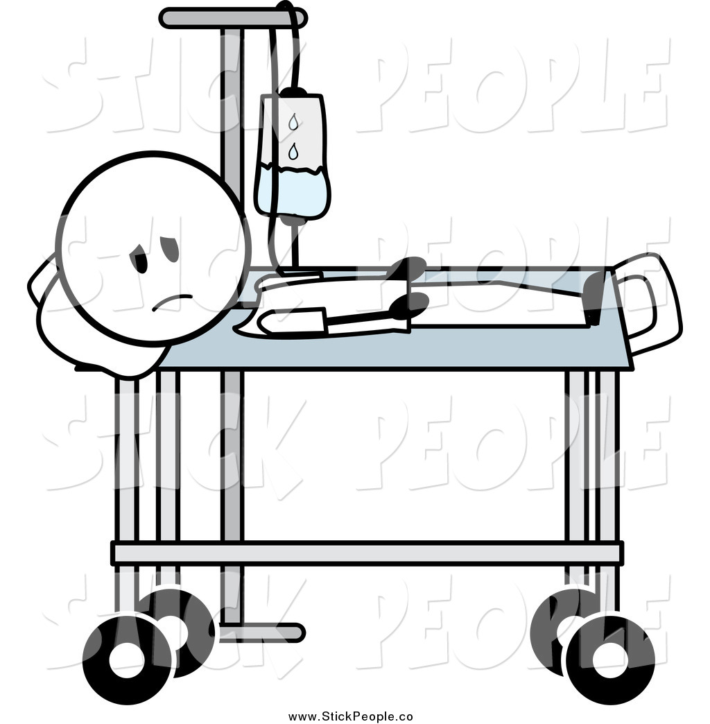 Vector Graphic of a Sick Stick Man with an IV in a Wheeled.