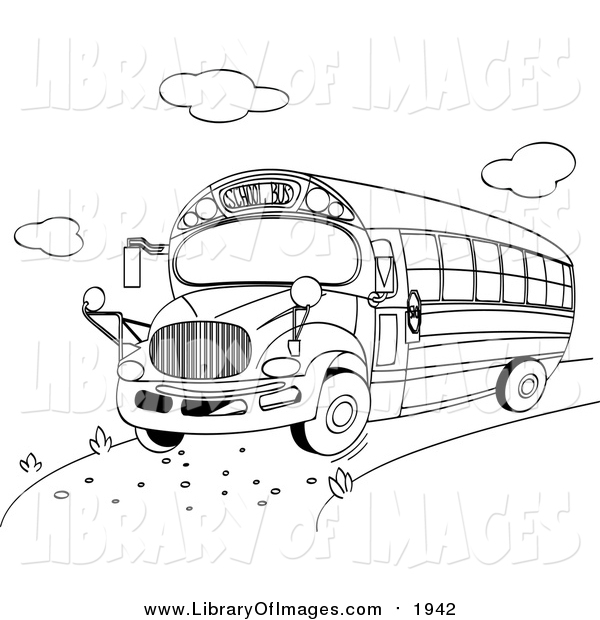Clip Art of a Black and White School Bus by Pushkin.