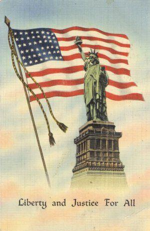 Vintage 1942 Color Patriotic Postcard Flag & Statue of Liberty.