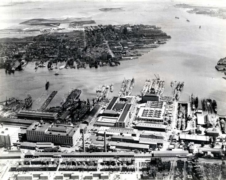 Aerial View of Navy Yard in Boston, 1942 NARA ID# 7329867 (US.