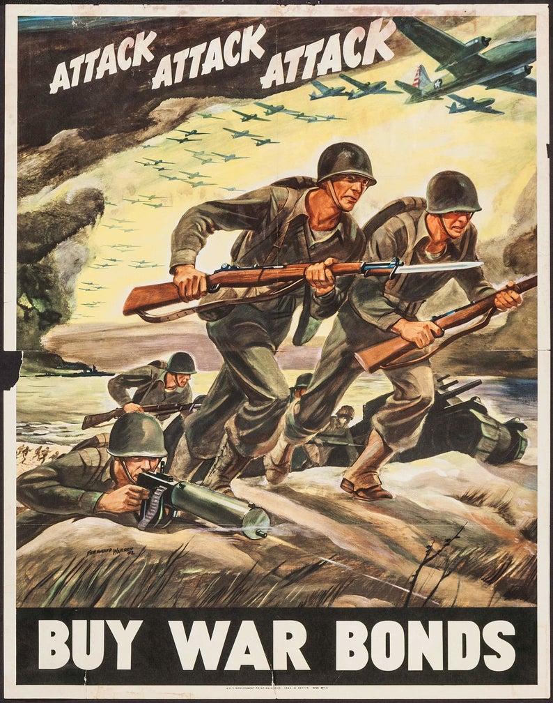 Propaganda Poster original 1942 Attack Attack Attack.