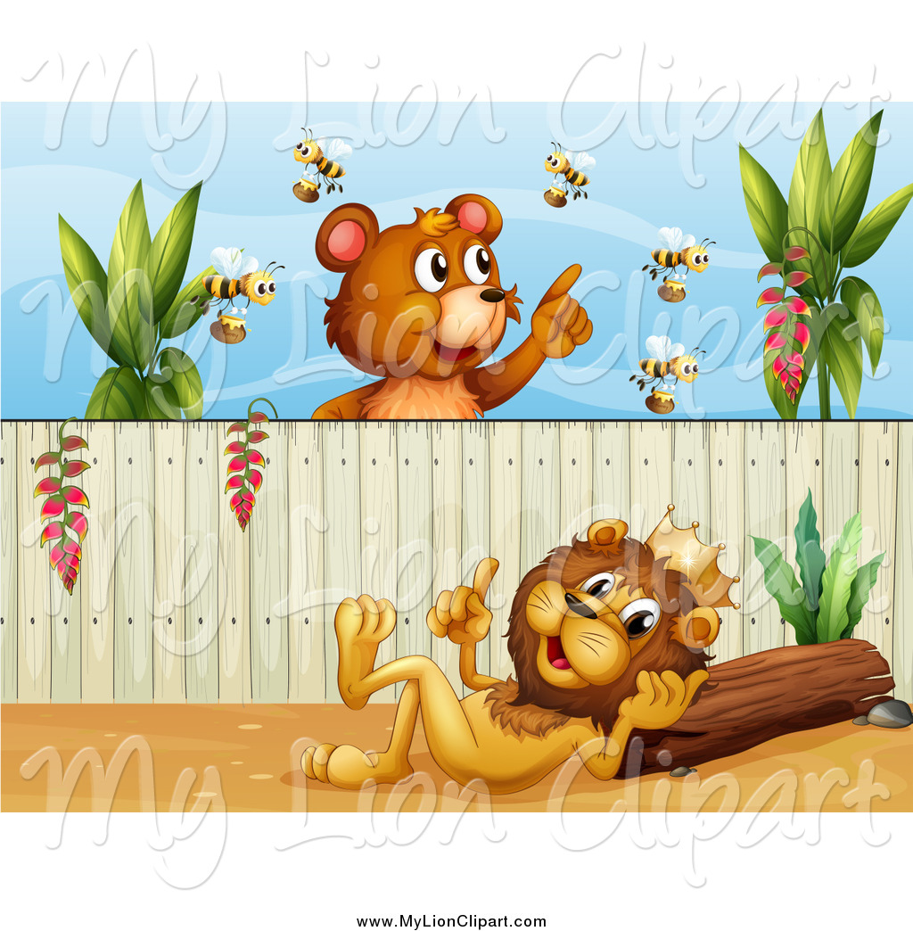 Clipart of a Bear with Bees over a King Lion in a Yard by colematt.