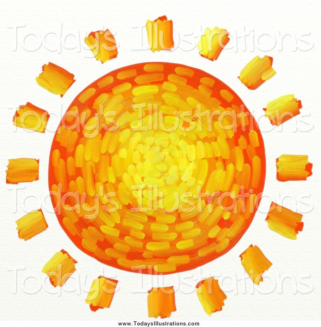 Clipart of a Artistic Creative Orange, Yellow and Red Sun by.