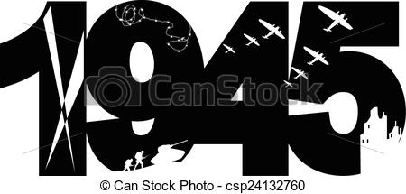 Clip Art Vector of 1945 victory day.