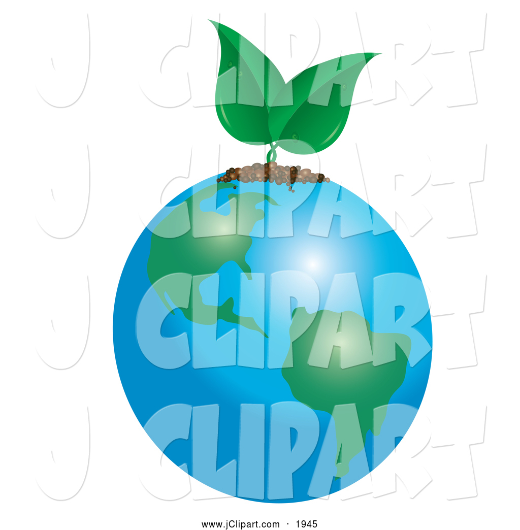 Vector Clip Art of a Green Seedling Sprouting from Earth by Pams.