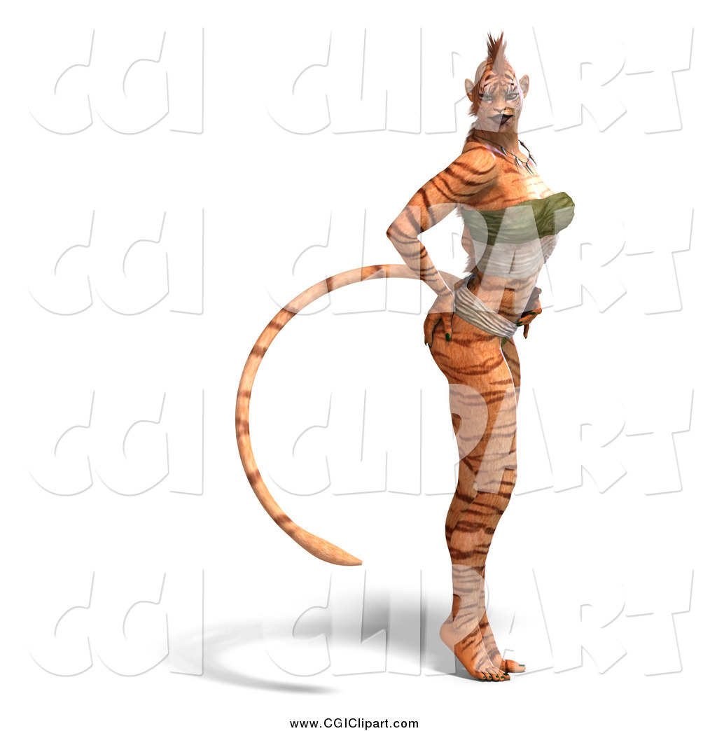 Clip Art of a 3d Sexy Tiger Woman Standing by Ralf61.