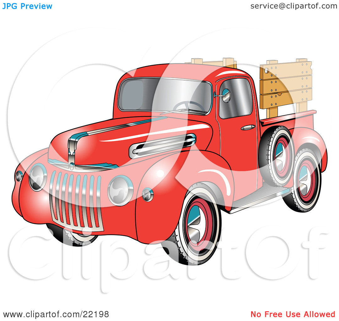 Clipart Illustration of a Red 1945 Ford Pickup Truck With A Spacfe.