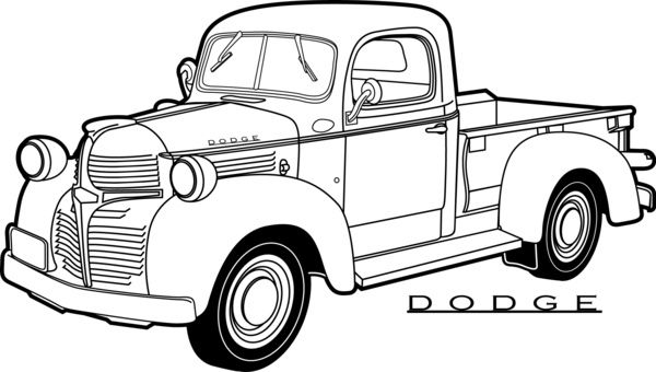 line drawing old dodge pickup truck.