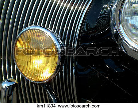 Stock Photo of Close Up Of 1947 Plymouth Grill km11894.