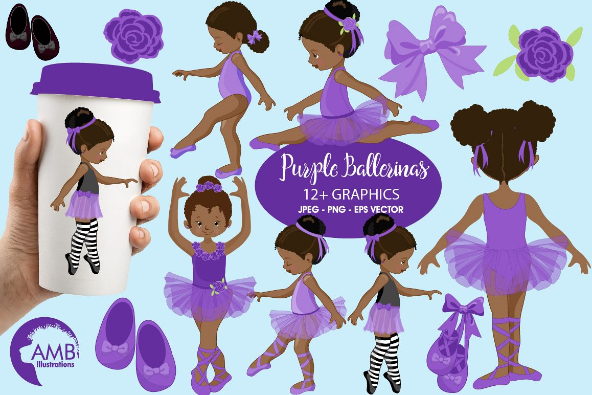 Ballerinas in purple clipart, graphics illustration AMB.