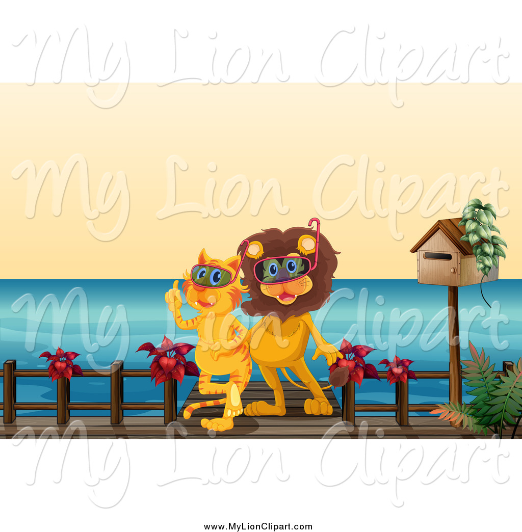 Clipart of a Lion and Tiger on a Pier with Scuba Gear by colematt.