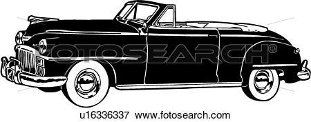Clip Art of , 1948, automobile, car, classic, convertible, de.