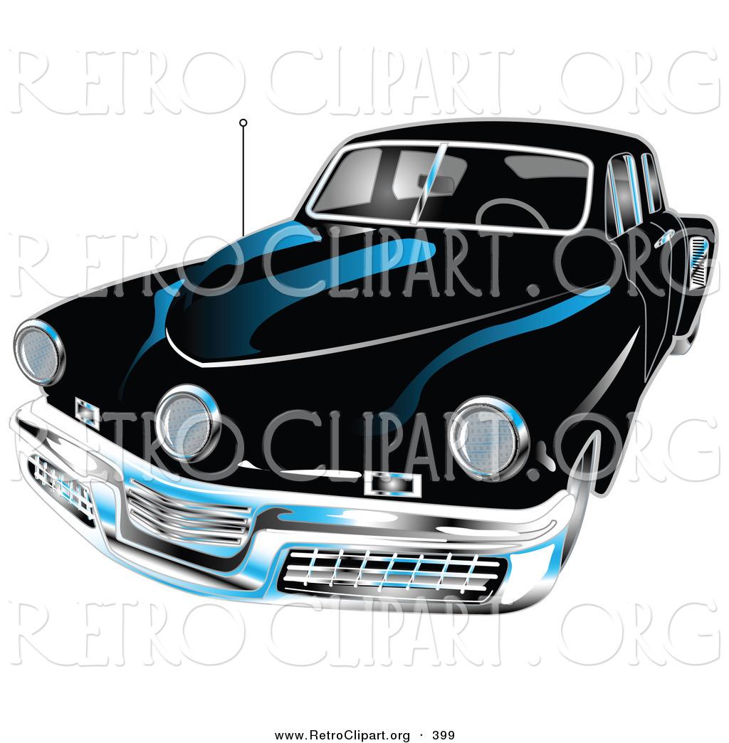 Retro Clipart of a Black 1948 Tucker Car with a Chrome Bumper and.