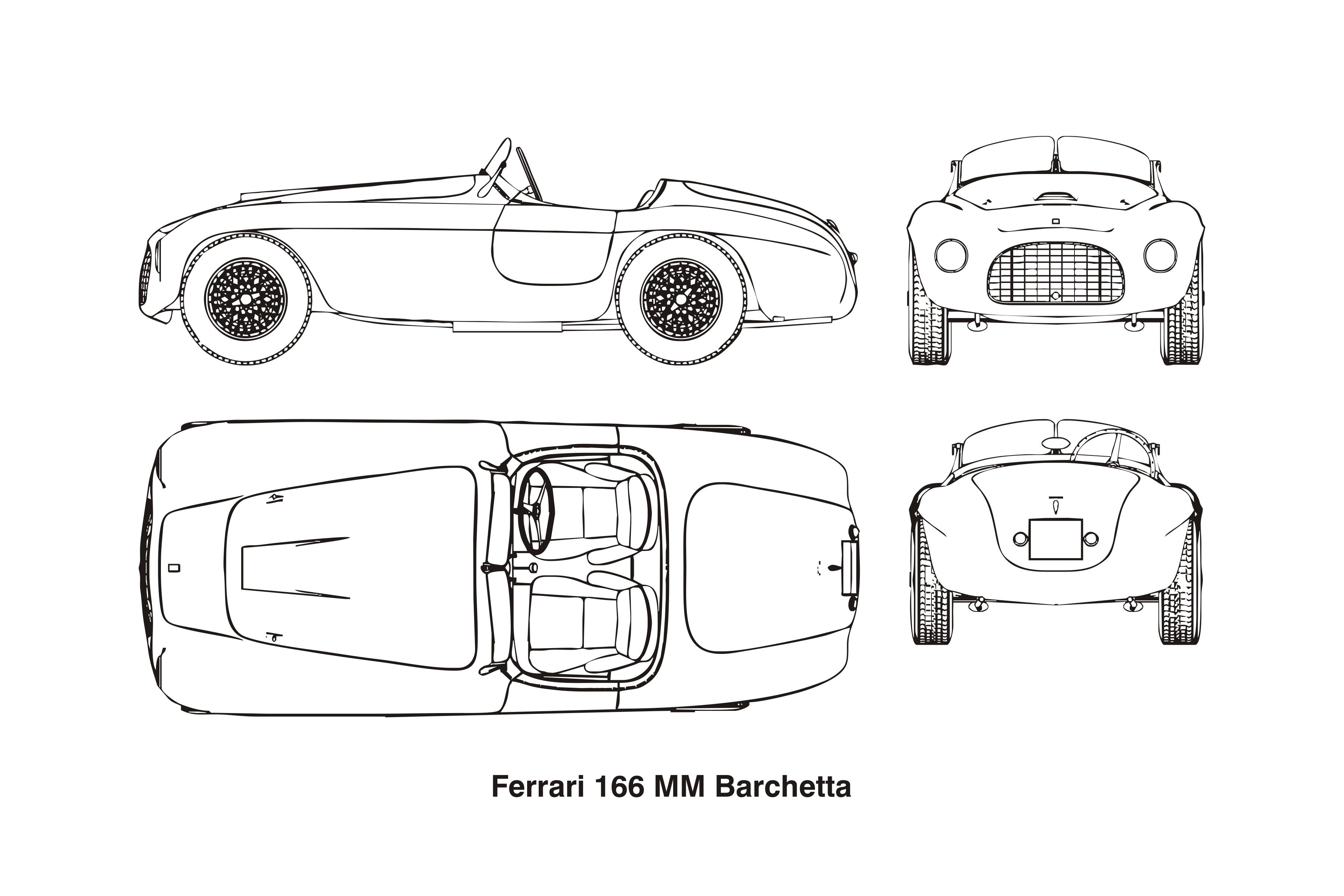 Ferrari 166 MM Barchetta, year 1948 Clipart.