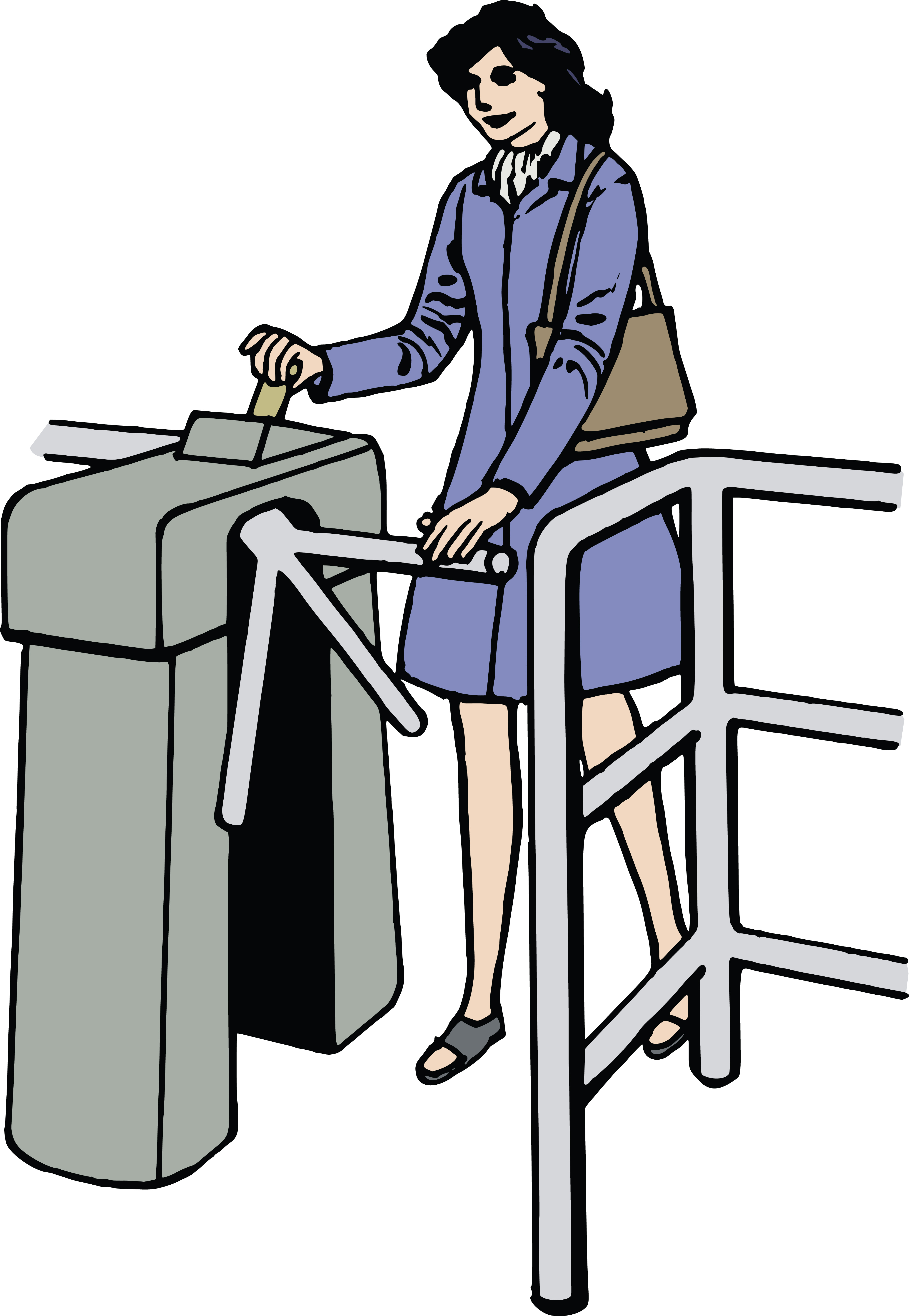 Free Clipart Of a woman going through a turnstyle.