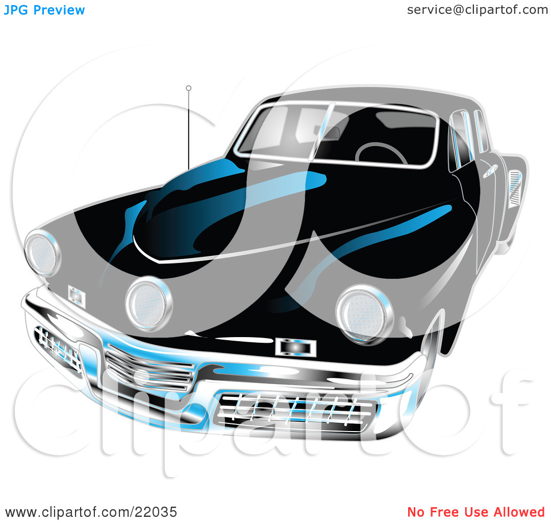 Clipart Illustration of a Black 1948 Tucker Car With A Chrome.