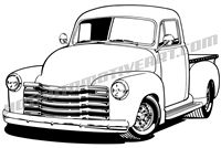 1948 chevy pickup truck 3/4 view.