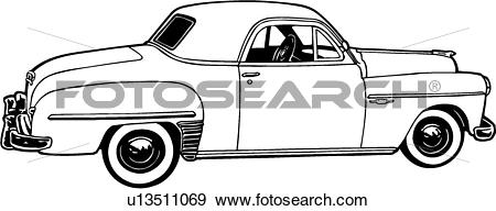Clip Art of , 1949, automobile, car, classic, coupe, dodge.