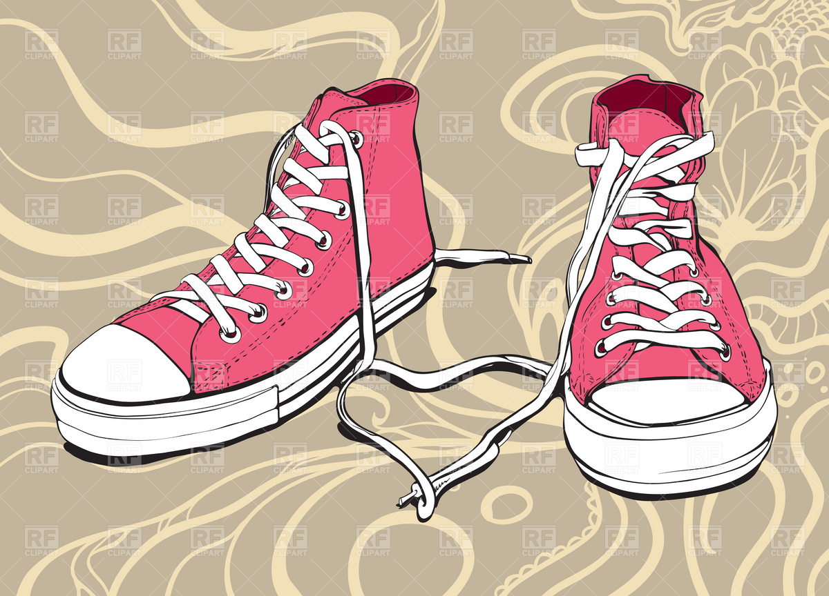 Clip Art Of Sneakers With Heart Clipart.
