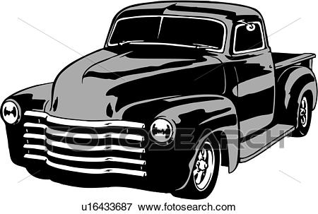 Clip Art of illustration, lineart, classic, 1949, chevy, pickup.