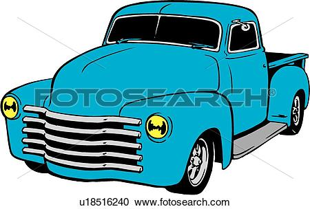 Clipart of illustration, lineart, classic, 1949, chevy, pickup.