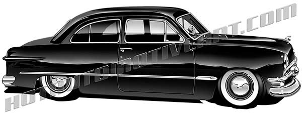 royalty free 1949 ford coupe classic car clipart.