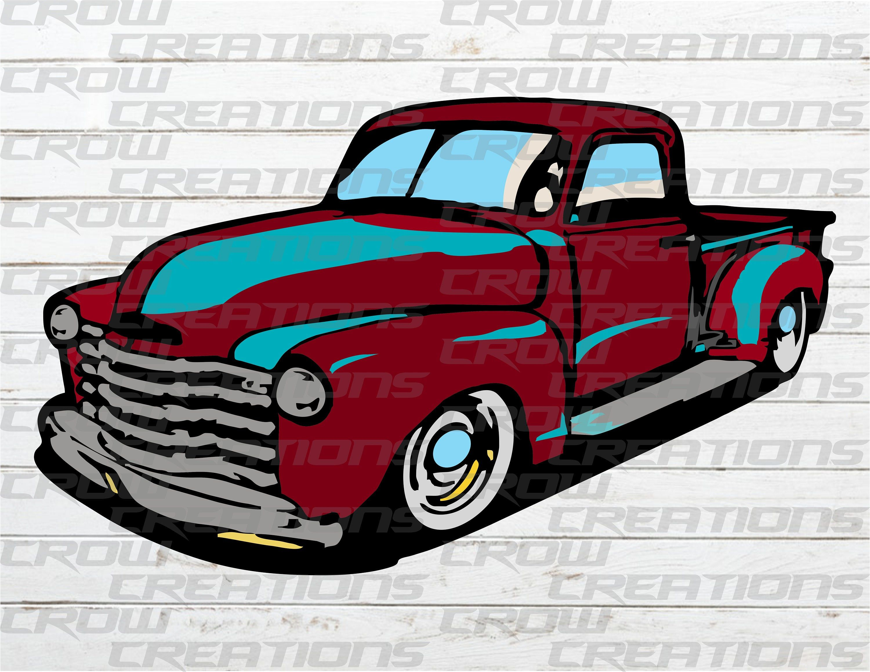 Old Rustic 1949 Chevy Farm Truck, Sublimation Design.