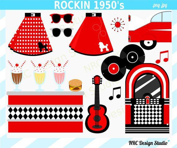 1950 S Sock Hop Clipart Poodle Skirt Jukebox Car Milkshake Bar.