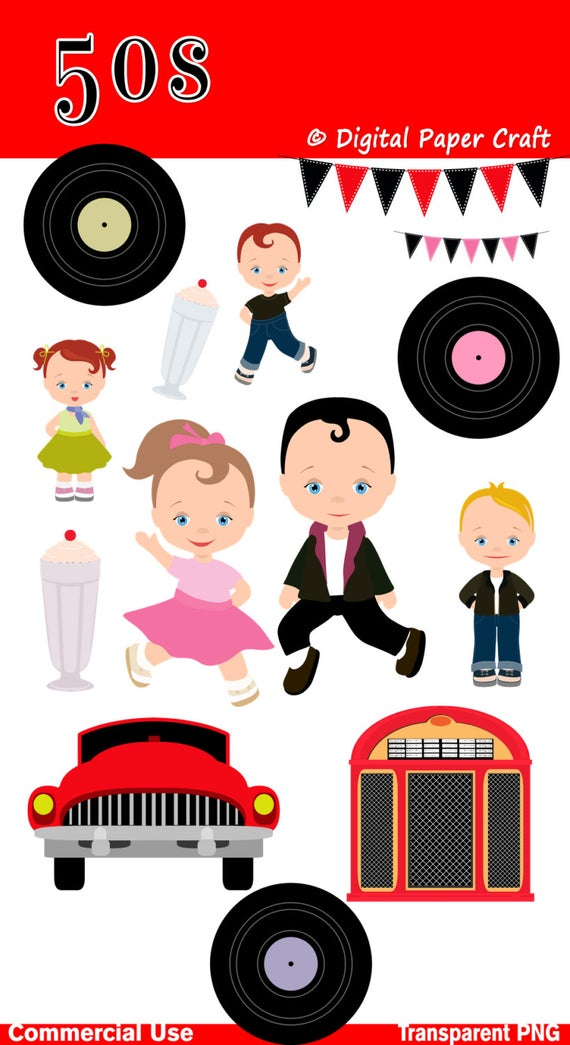 50s Clipart, Children Clipart, 1950 Clipart, Rock N Roll Clipart, Instant  download.