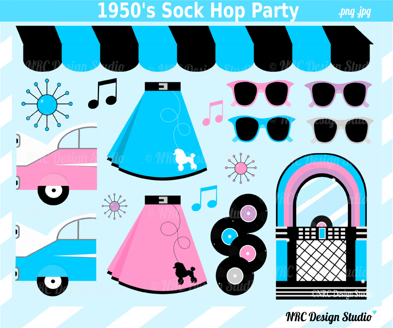 80% SALE 1950&Sock Hop Clip Art Cute Retro by.
