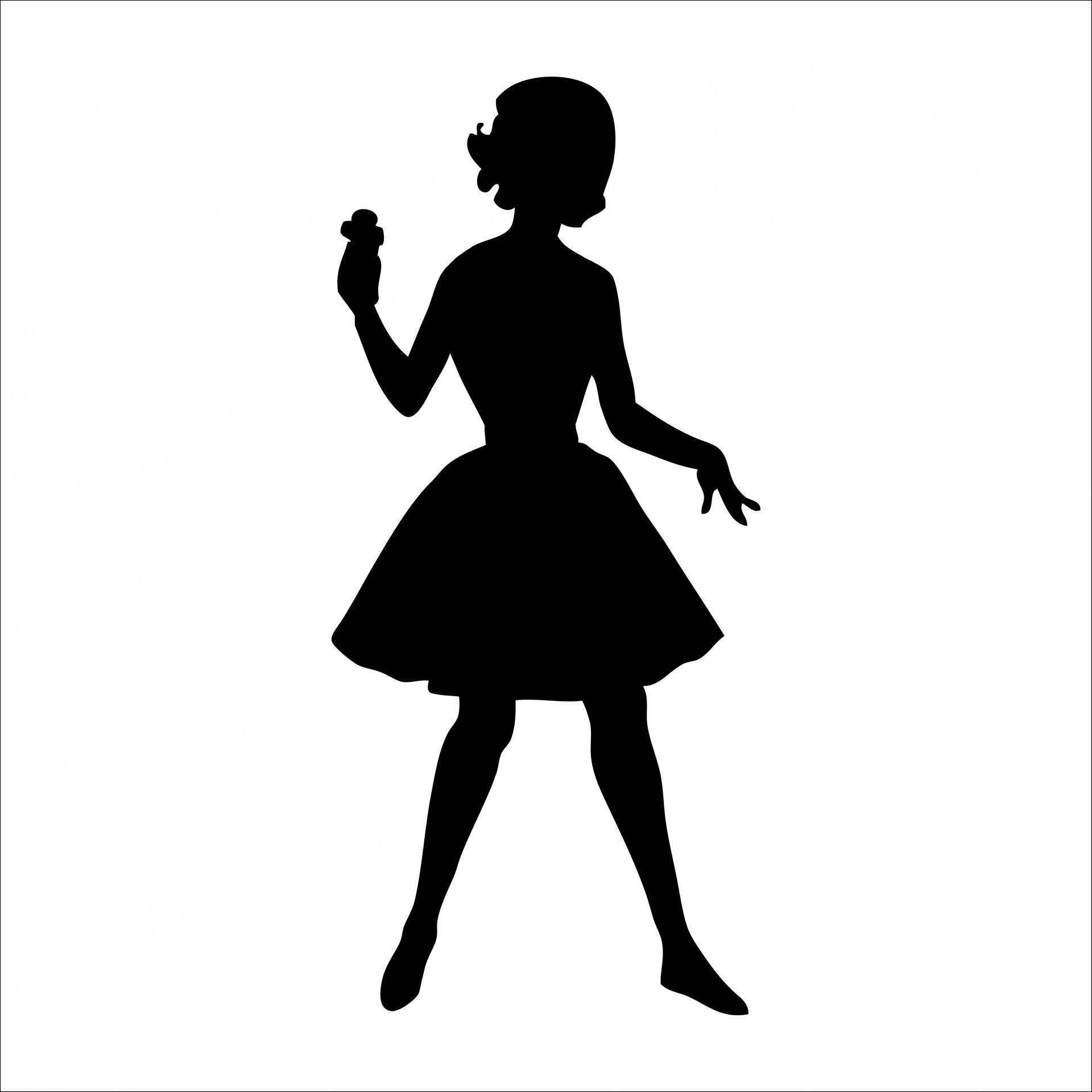 Woman Silhouette 1950s Clipart Free Stock Photo.