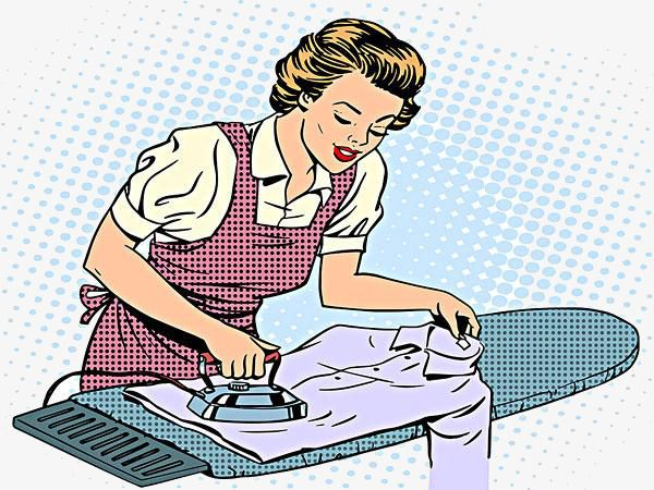 Cartoon Woman Ironing Clothes, Cartoon Clipart, Woman.