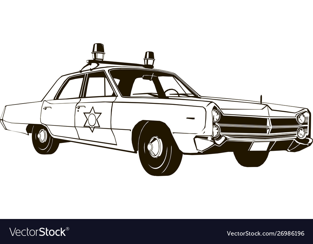 Vintage police car drawing graphic.