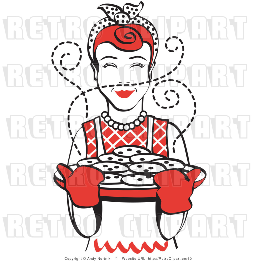 Royalty Free Vector Retro Clip Art of a 1950\'s Housewife.