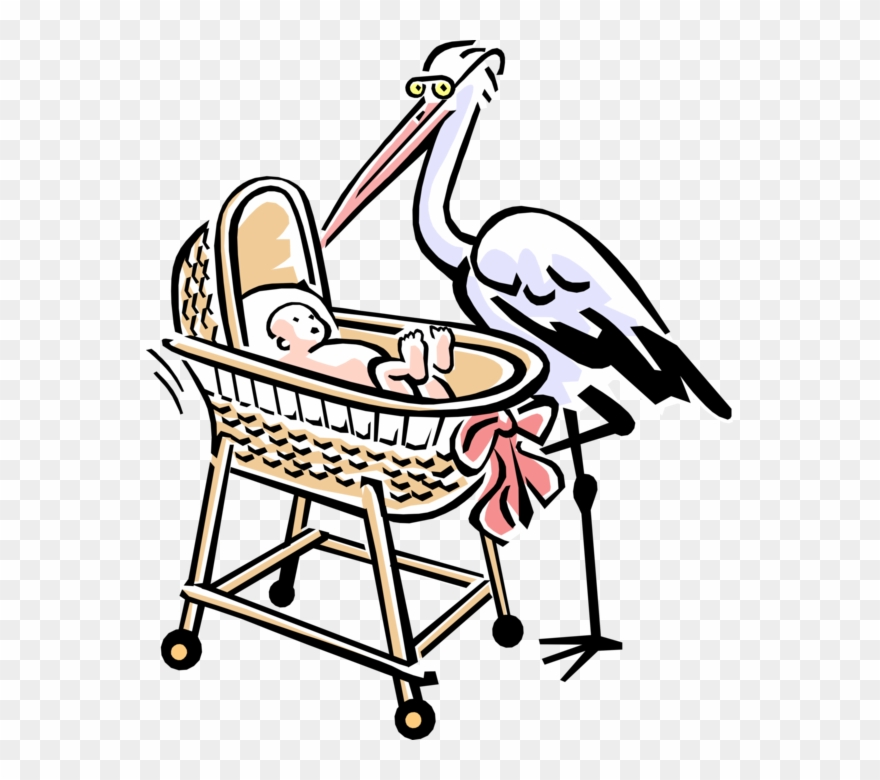 Vector Illustration Of 1950\'s Vintage Style Stork With.