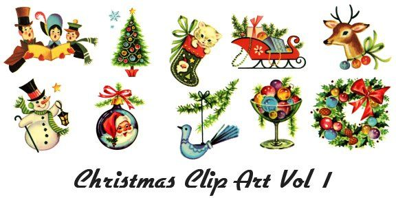 Retro Clip Art of Vintage Christmas Images 1950\'s Baby.