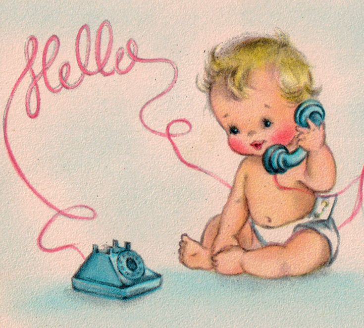 1950\'s cute graphic of blonde baby & telephone. Vintage baby.