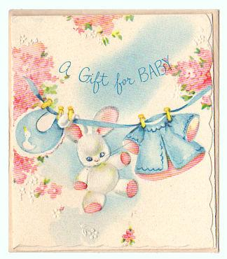 Vintage 1950s Baby Shower Gift Card Bunny Bib Clothesline.