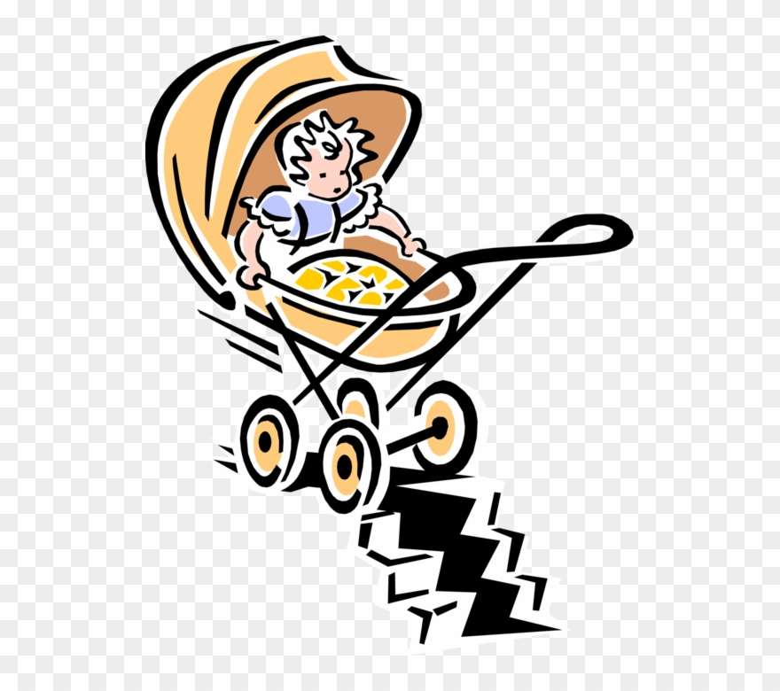 Vector Illustration Of 1950\'s Vintage Style Child Stroller.