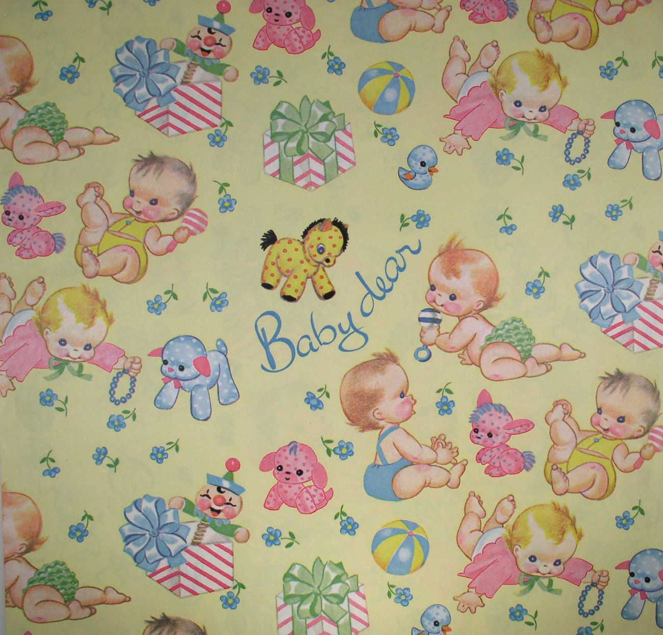 Vintage Baby Gift / Baby Shower Wrapping Paper.